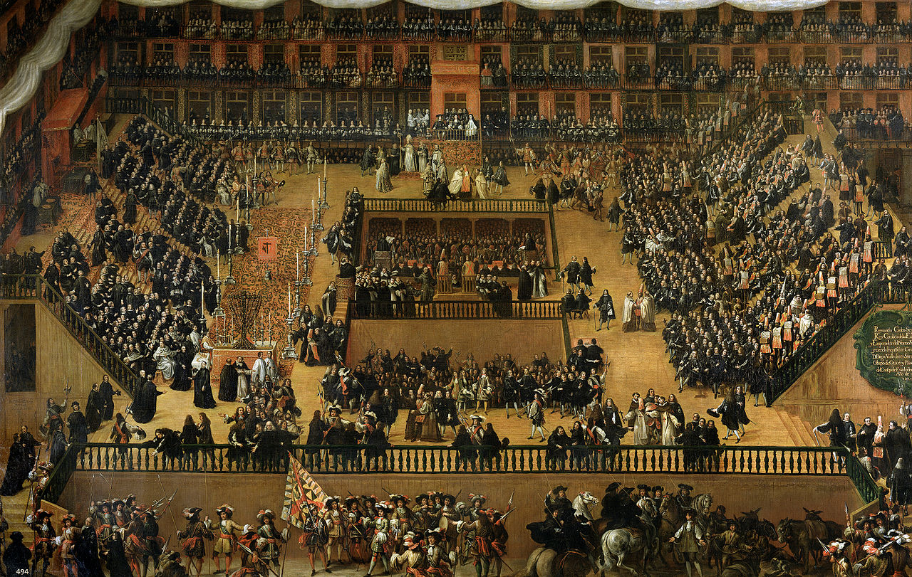 An auto-de-fé in Plaza Mayor, Madrid, 1680.